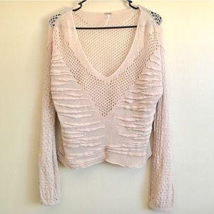 Free people tan speckled crochet open knit sweater
